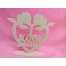6mm MDF Standing I love you rose heart